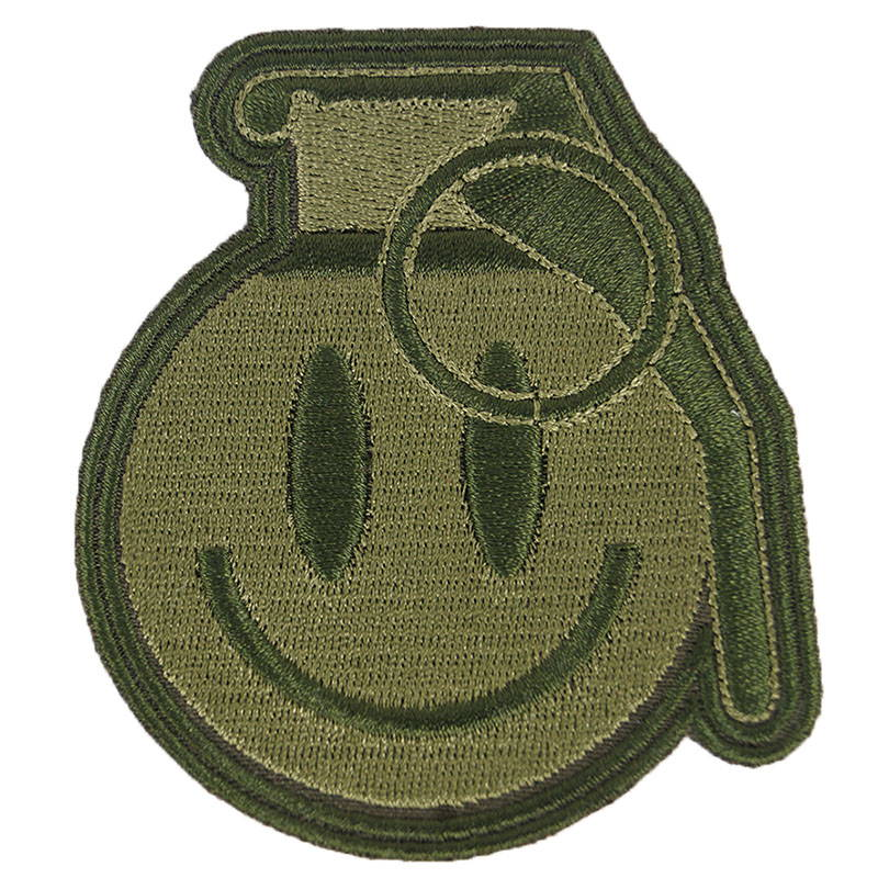 Hand Grenade Emoji Smile Patch Embroidered Olive