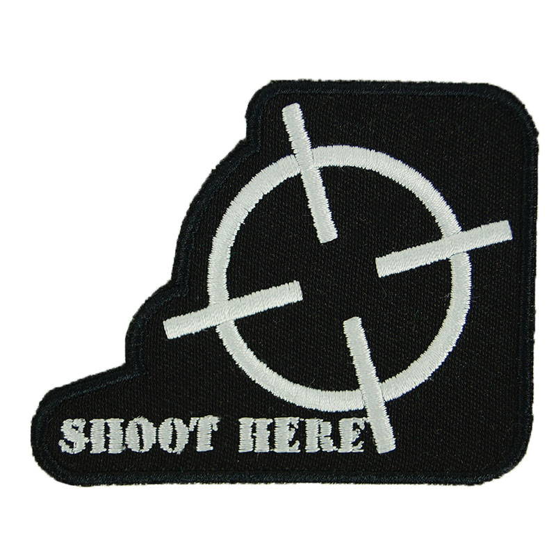Shoot Here Airsoft Fun Patch Embroidered