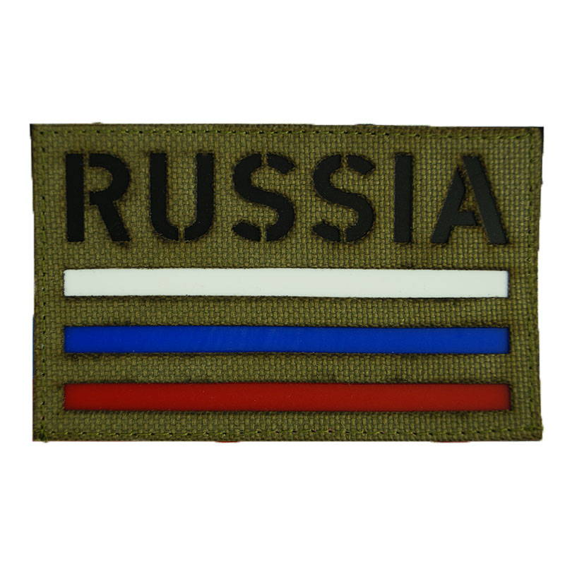 Russian Tricolor Flag Velcro Patch Sand Desert Subdued