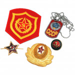 Soviet Russian Communist Hammer and Sickle KGB Badge Set