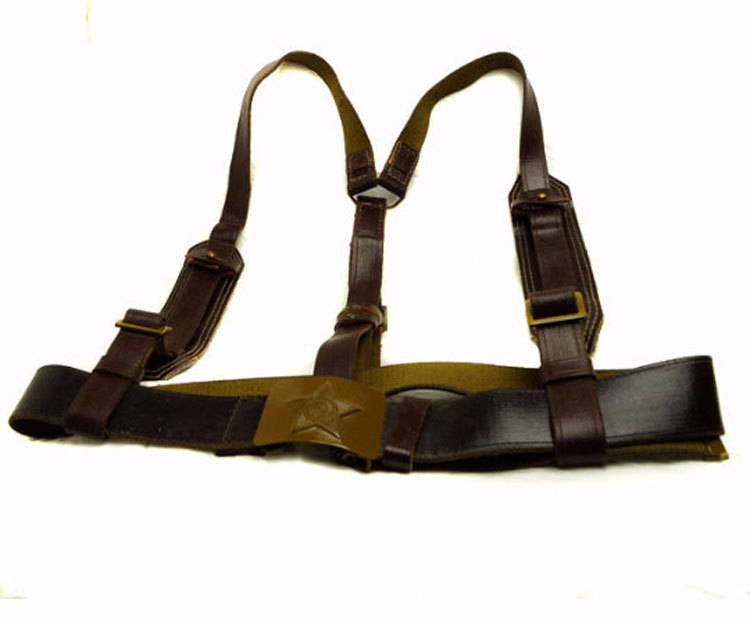Soldiers Leather Belt Suspenders