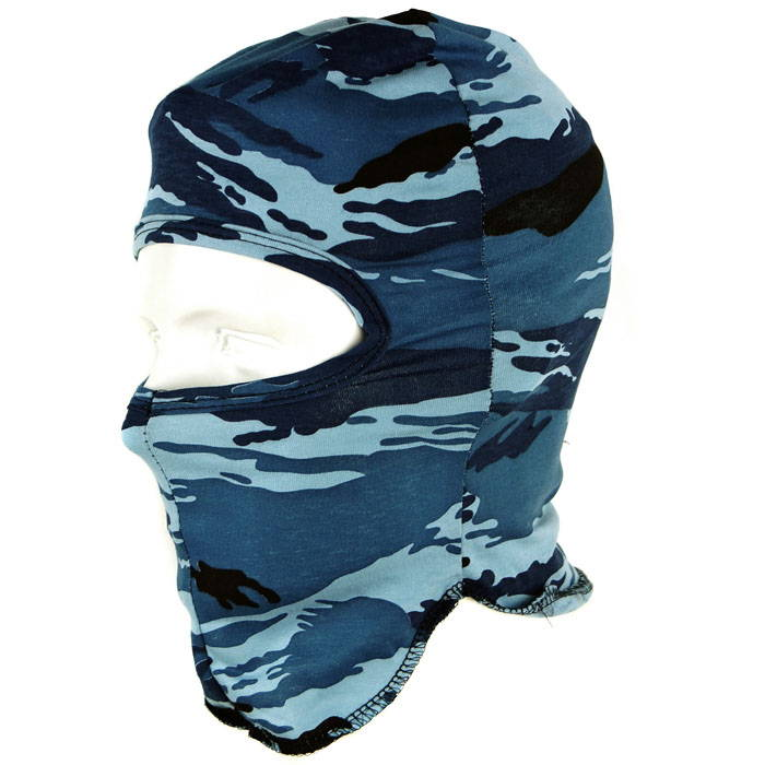 Russian Military Face Mask 1 Hole Balaclava Shadow Camo Blue Tiger