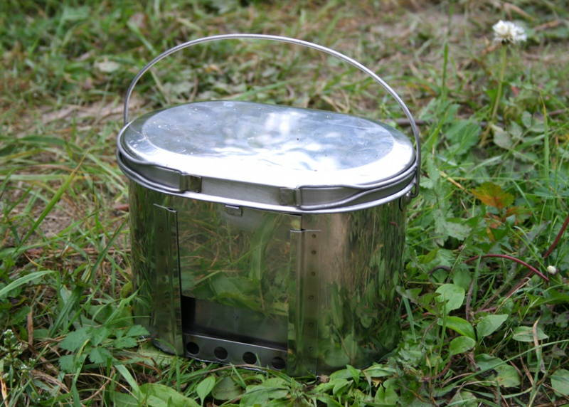 Camping Russian Compact Stainless Steel Bowl Pot 2.2l (74 Oz) With Stove
