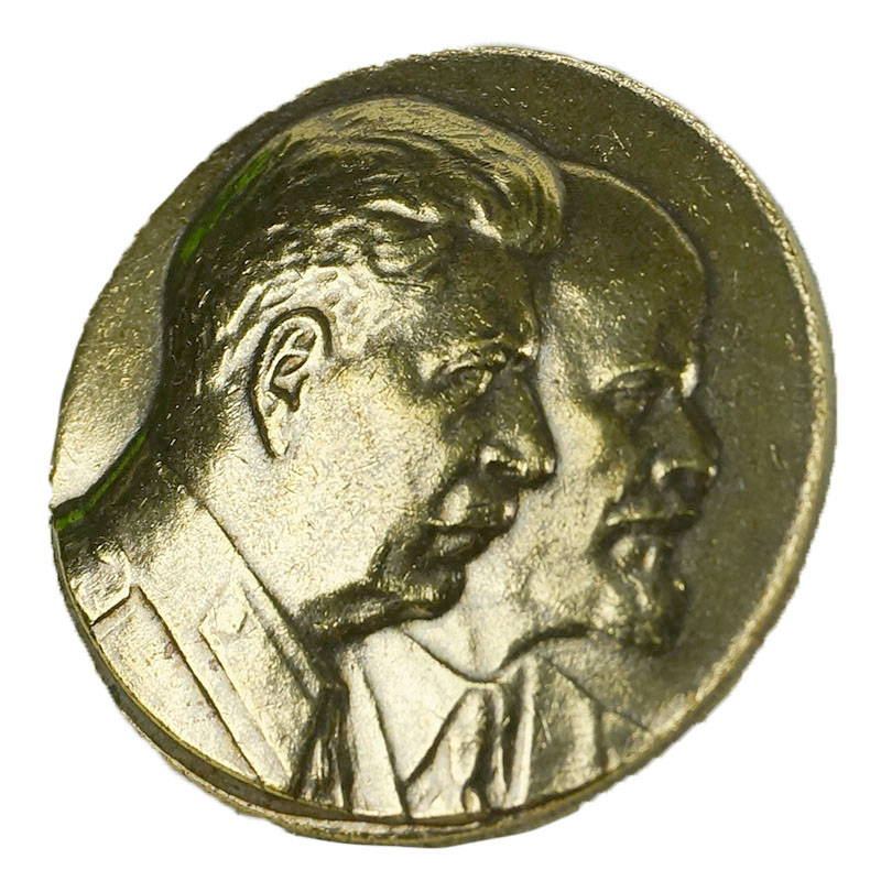 Soviet Leaders Stalin & Lenin Pin Badge